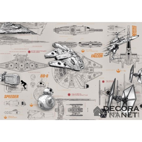 Fotomural STAR WARS by KOMAR 8-493 Star Wars Blueprints